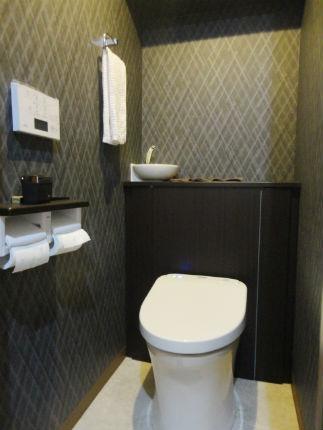 グレイスダークグレーのレストパルでシックなトイレ空間 茨木市