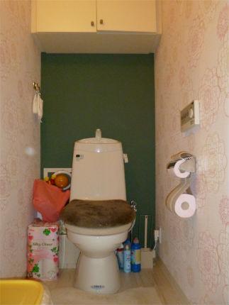 イメージを一新!グリーンのアクセントクロスでレトロなトイレ 神戸市