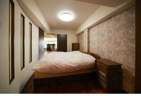 R曲線で開放感のある寝室 豊中市