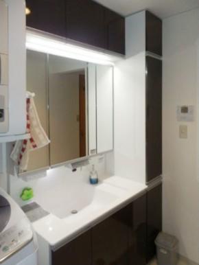 自動水栓「すぐピタ」とLEDで節約できる洗面化粧台 ウツクシーズ 神戸市灘区