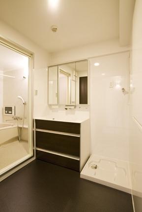 有機ガラスで使い勝手のいい洗面所