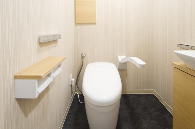 アームレストと手洗い器を設置して安心して利用できるトイレ