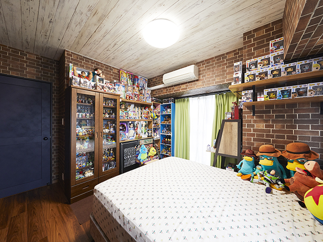 憧れのアメリカンテイストの内装で彩る、見せる収納が主役の空間