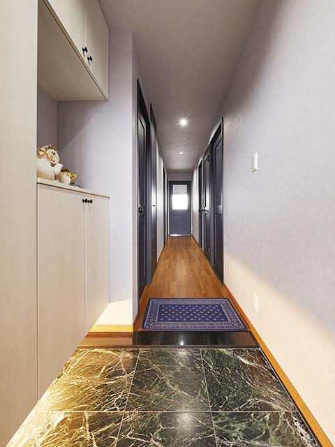 フロートタイプの収納と間接照明で高級感漂う玄関に